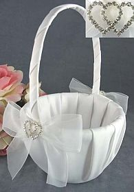Rhinestone Hearts Wedding Flowergirl Basket